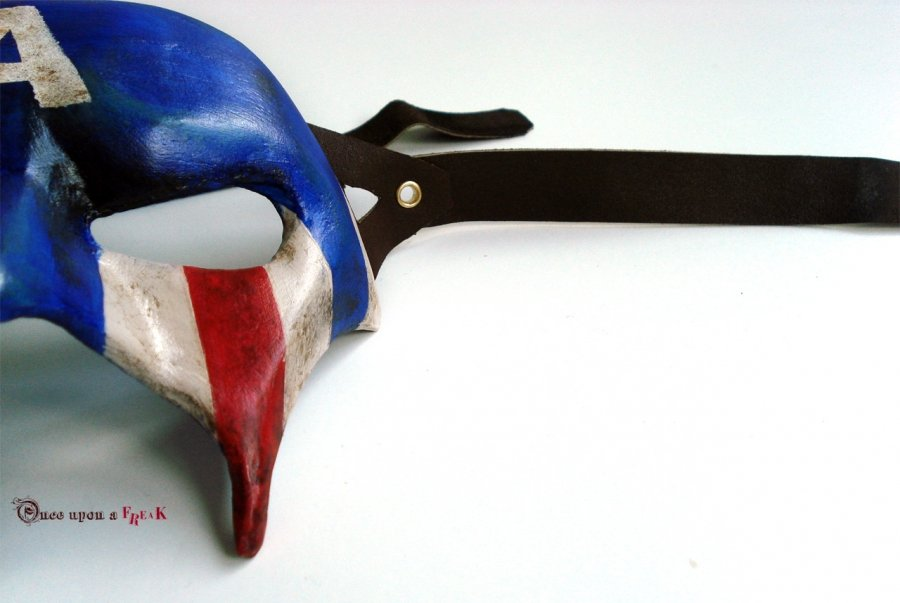antifaz veneciano capitan america pintado a mano