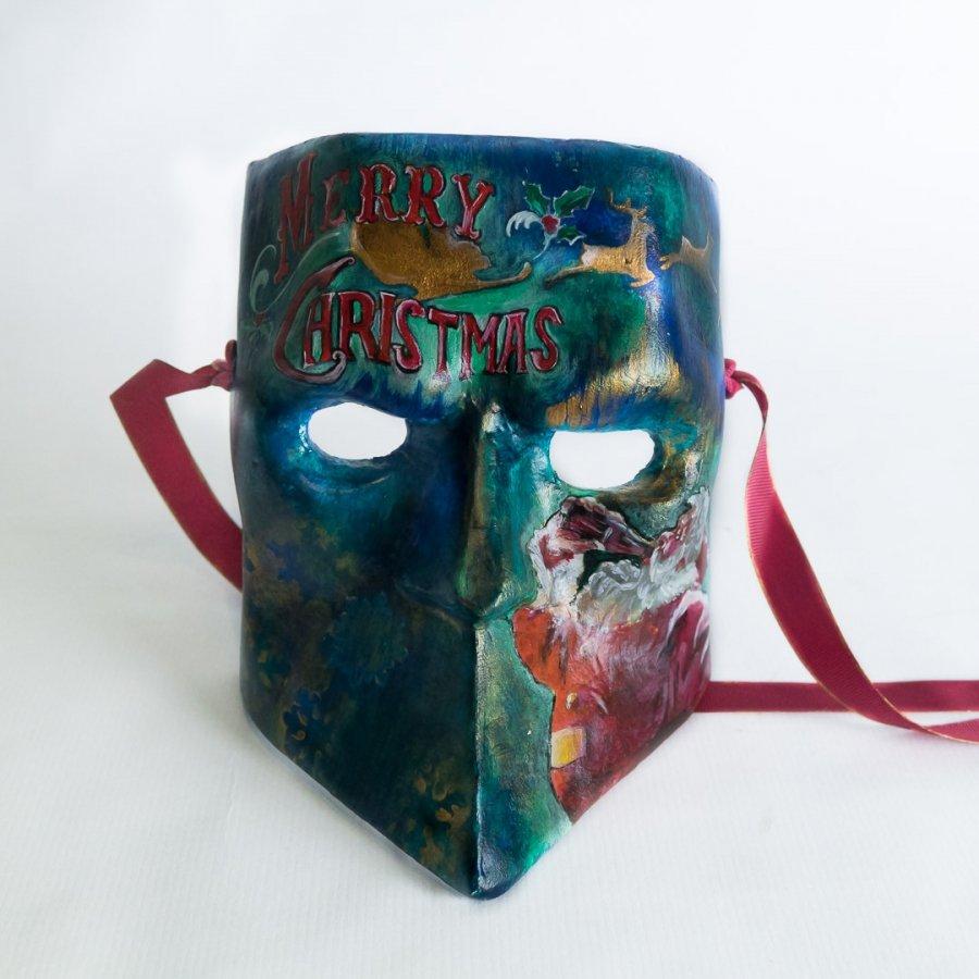 máscara de bauta Feliz Navidad con papá Noel