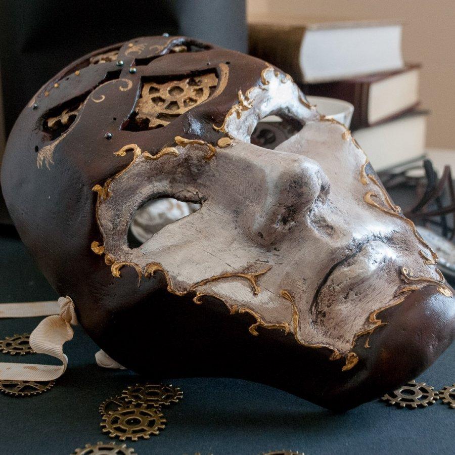 volto señor del tiempo mascara steampunk con engranajes